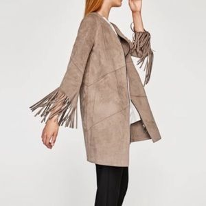 New Zara Suede fringe jacket coat beige